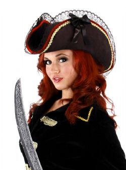 PIRATES -  LADY BUCCANEER HAT - BLACK