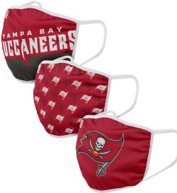 FOOTBALL -  FACE MASK - PACK OF 3 -  TAMPA BAY BUCCANEERS
