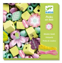 WOODEN BEADS -  FLOWER AND FOLIAGE (MULTILINGUAL)
