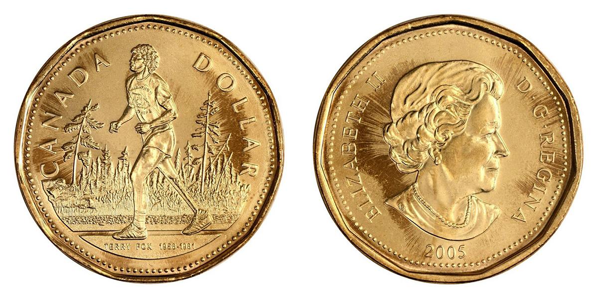 2005 CANADA 1 DOLLAR TERRY FOX UNCIRCULATED 1$