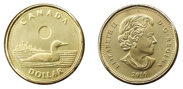 1-DOLLAR -  2016 1-DOLLAR - BRILLIANT UNCIRCULATED (BU) -  2016 CANADIAN COINS