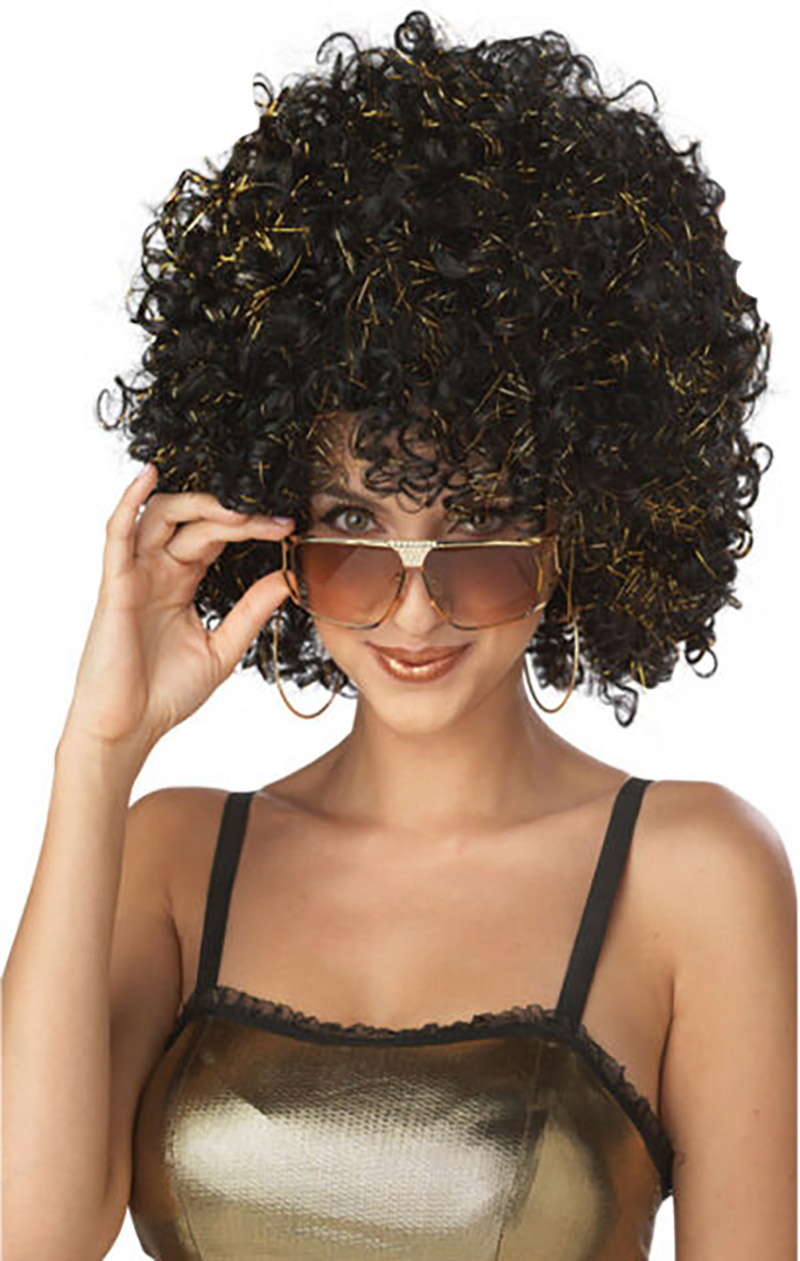 1970 -  DISCO GLITTER WIG - BLACK WITH GOLD GLITTER (ADULT) -  AFRO