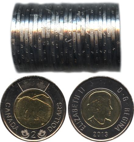 2-DOLLAR -  2013 2-DOLLAR ORIGINAL ROLL -  2013 CANADIAN COINS