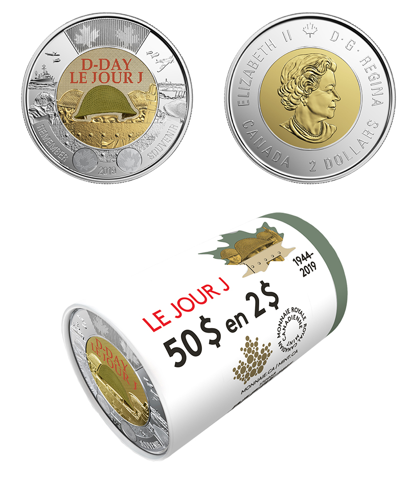 75TH ANNIVERSARY OF D-DAY 2019 Coloured $2 Special Wrap ROYAL CANADIAN MINT