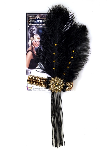 20'S -  GOLD FLAPPER HEADPIECE WITH BLACK FEATHER
