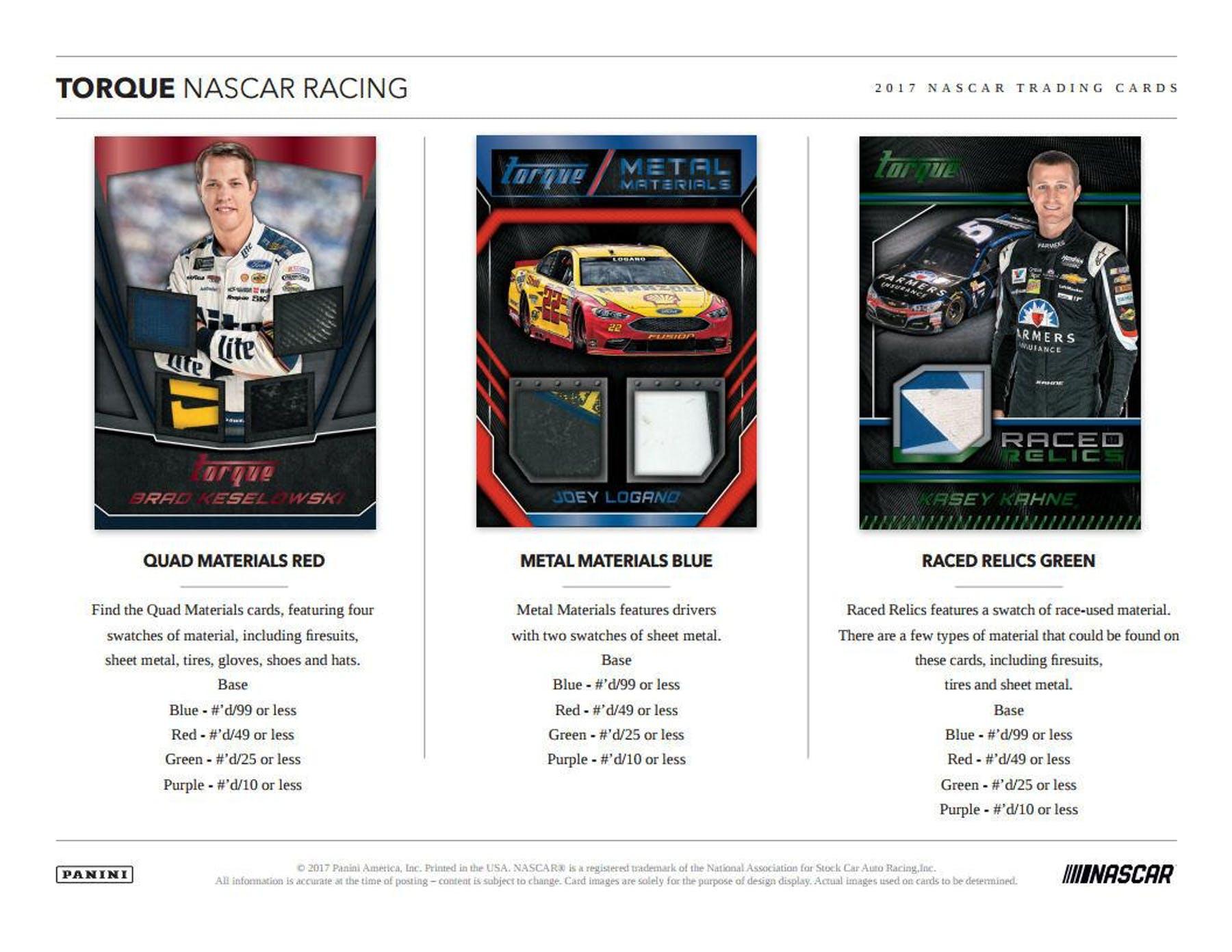 2017 NASCAR -  PANINI TORQUE - HOBBY (P10/B5)