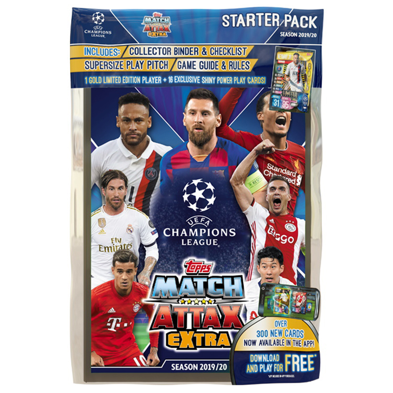 2019-20 SOCCER -  TOPPS MATCH ATTAX EXTRA STARTER PACK (ALBUM/ 17 CARDS + 1 LIMITED CARD)