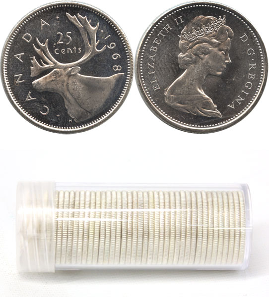 25-CENT - 1968 SILVER 25-CENT - 40 COINS PACK - BRILLIANT UNCIRCULATED (BU)  - 1968 CANADIAN COINS