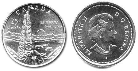 RCM Uncirculated 2005-25-cents Alberta
