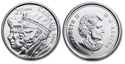 2005 Canada BU 25 Cent Coins Roll Veterans