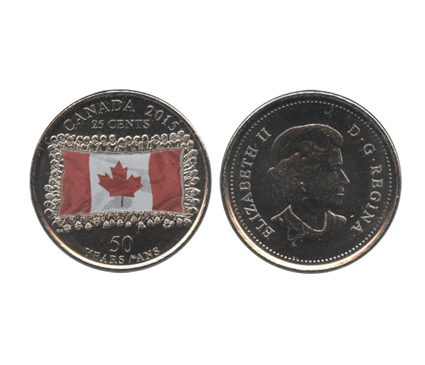 25-CENT -  2015 COLORED 25-CENT - CANADIAN FLAG - FADED COLOUR (BU) -  2015 CANADIAN COINS
