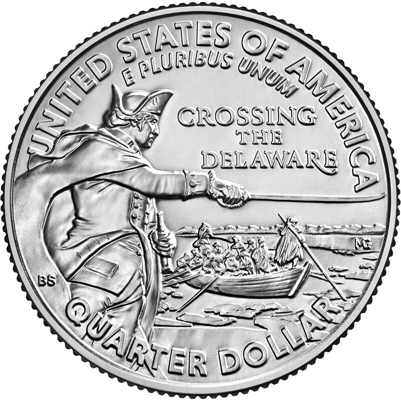 25-CENT -  GENERAL GEORGE WASHINGTON CROSSING THE DELAWARE