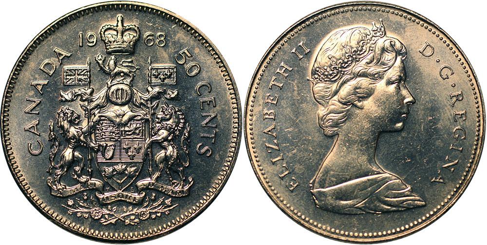 50-CENT -  1968 50-CENT (REGULAR) - BRILLIANT UNCIRCULATED (BU) -  1968 CANADIAN COINS