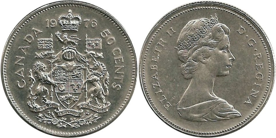 50-CENT -  1976 50-CENT - BRILLIANT UNCIRCULATED (BU) -  1976 CANADIAN COINS