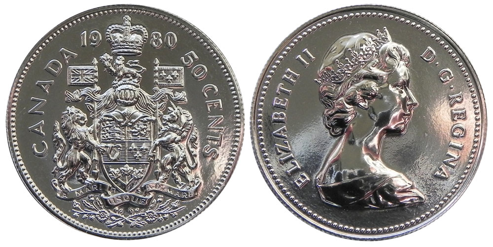 50-CENT -  1980 50-CENT - BRILLIANT UNCIRCULATED (BU) -  1980 CANADIAN COINS