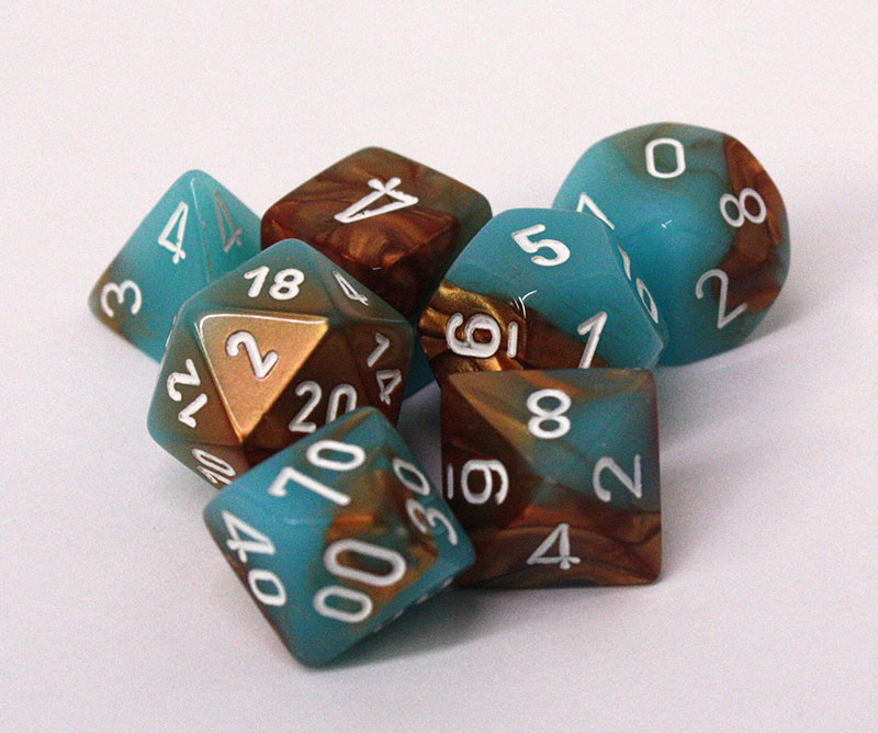 7 DICE, COPPER/TURQUOISE AND WHITE -  LAB DICE