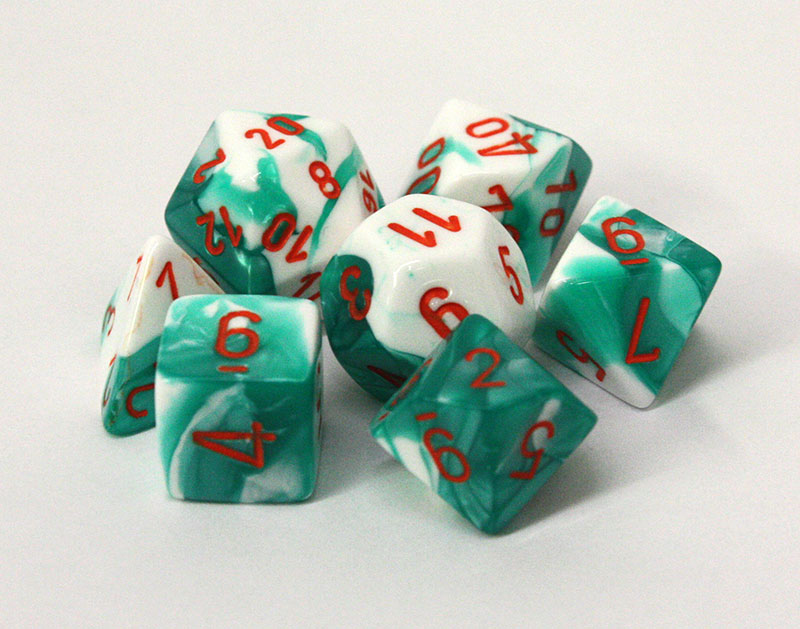 7 DICE, MINT GREEN/WHITE AND ORANGE -  LAB DICE