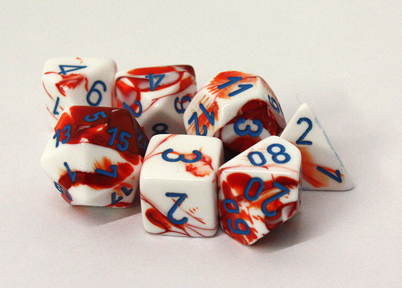 7 DICE, RED/WHITE AND BLUE -  LAB DICE