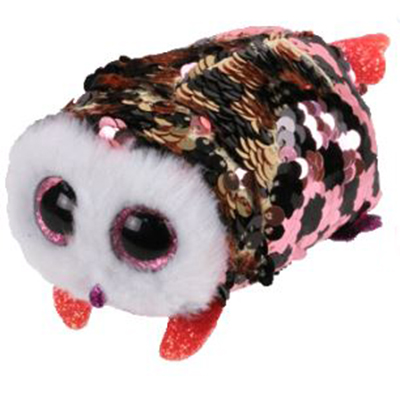 BEANIE BOO'S -  CHECKS SEQUIN PINK AND BLACK OWL (4.5