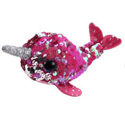 BEANIE BOO'S -  NELLY SEQUIN PINK NARWHAL(4.5