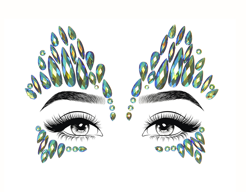 BODY JEWELS -  SKY ADHESIVE FACE JEWELS STICKER - TEAL