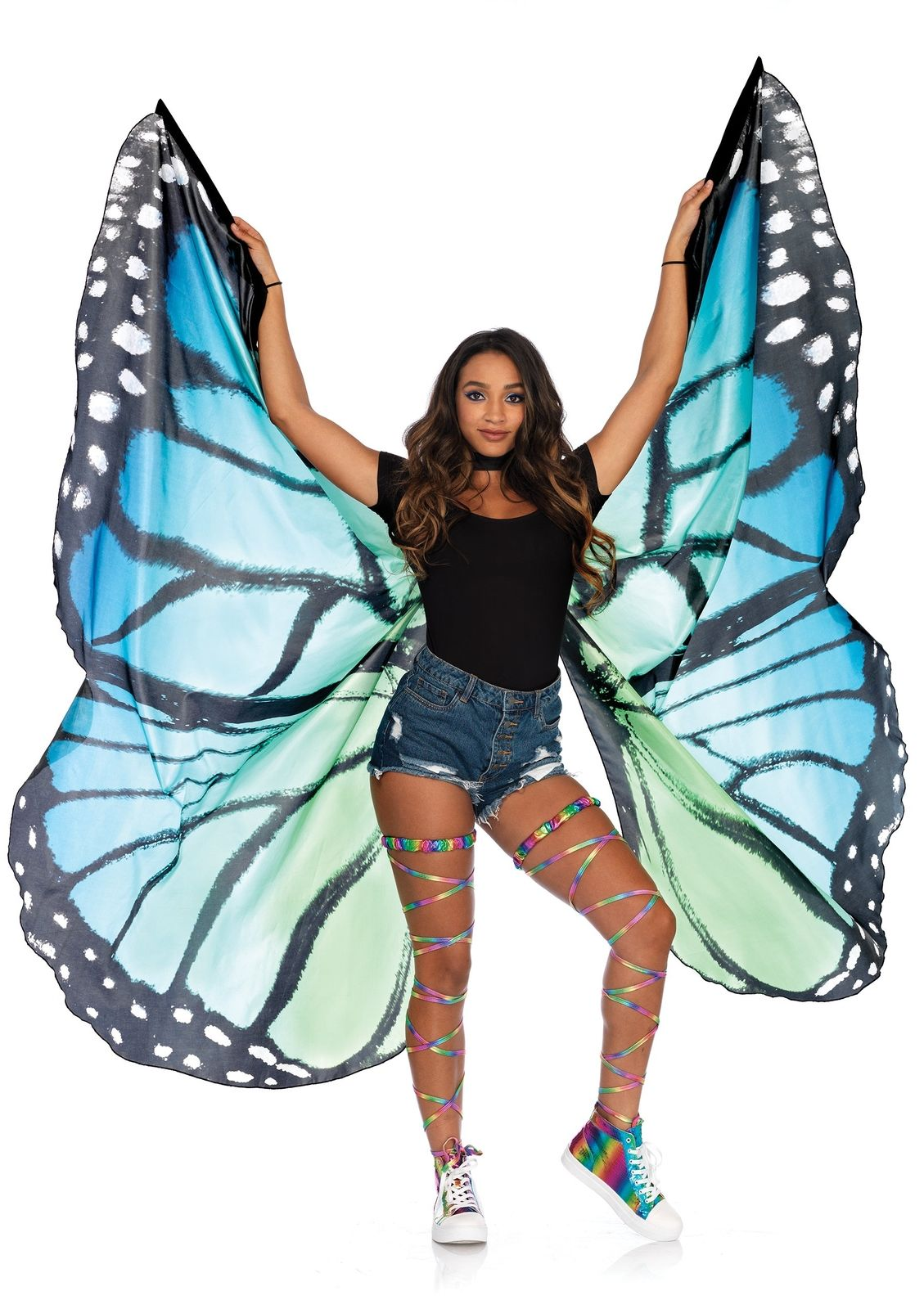 BUTTERFLY -  FESTIVAL BUTTERFLY WING HALTER CAPE WITH WRIST STRAPS AND SUPPORT STICKS - BLUE