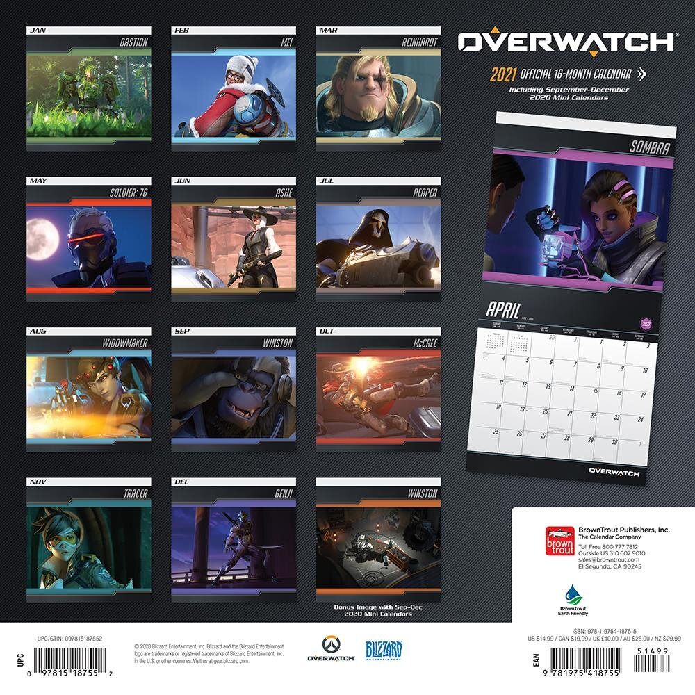 CALENDAR 2021   16 MONTHS   OVERWATCH / CALENDARS