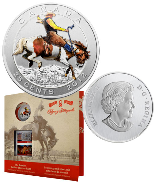 2012 Canada 25 cent Coin and Stamp Set Calgary Stampede