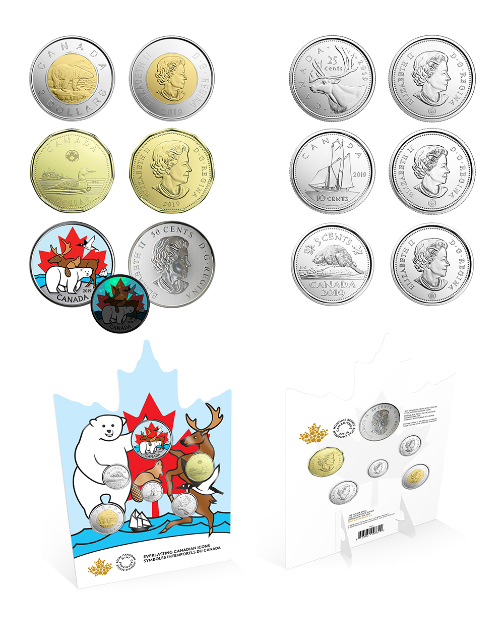 CIRCULATION SETS WITH GLOW-IN-THE-DARK COIN -  EVERLASTING CANADIAN ICONS -  2019 CANADIAN COINS 02