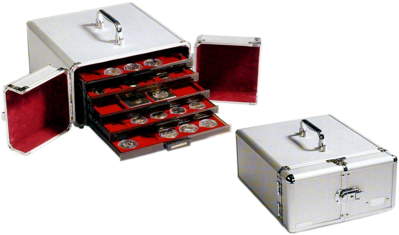 Coin Suitcase Aluminum Collector Lockable Case For Lighthouse 12 Trays Cash
