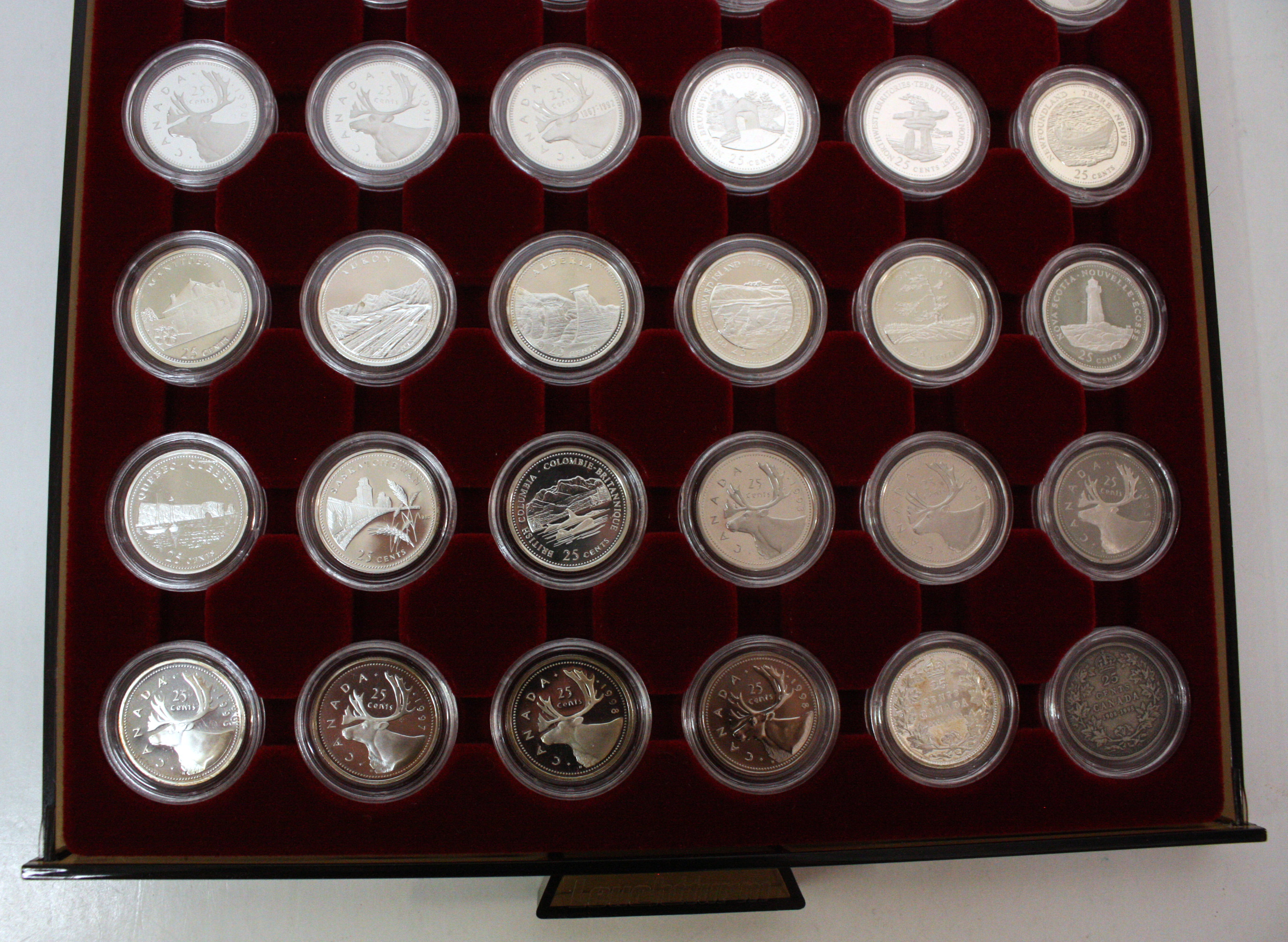 COMPLETE COLLECTIONS -  25-CENT COIN COMPLETE COLLECTION FROM 1972 TO 1998 - PROOF-LIKE, SPECIMEN OR PROOF FINISH