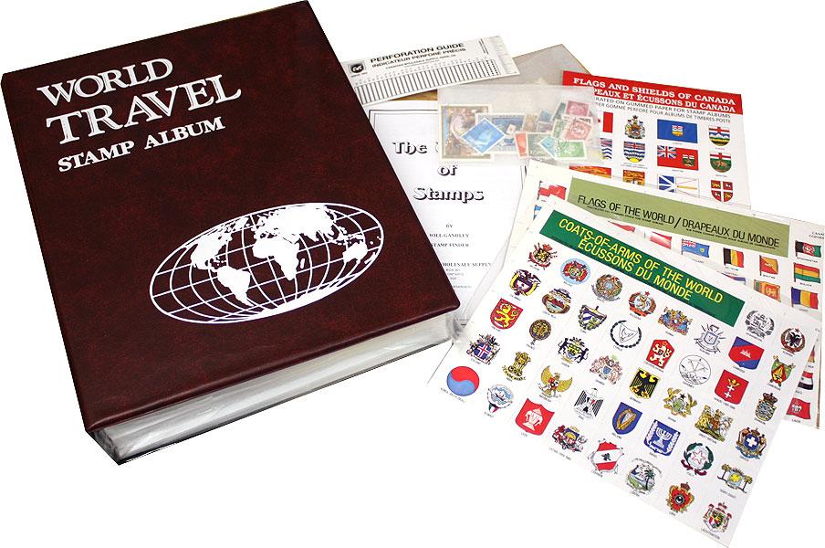 CWS WORLDWIDE - WORLD TRAVEL - POSTAGE STAMP COLLECTING KIT / STAMP ALBUMS