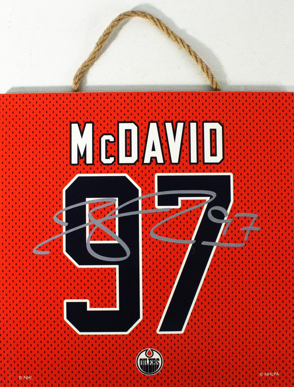 EDMONTON OILERS -  CONNOR MCDAVID #97 AUTOGRPAHED WOODEN PLAQUE (10