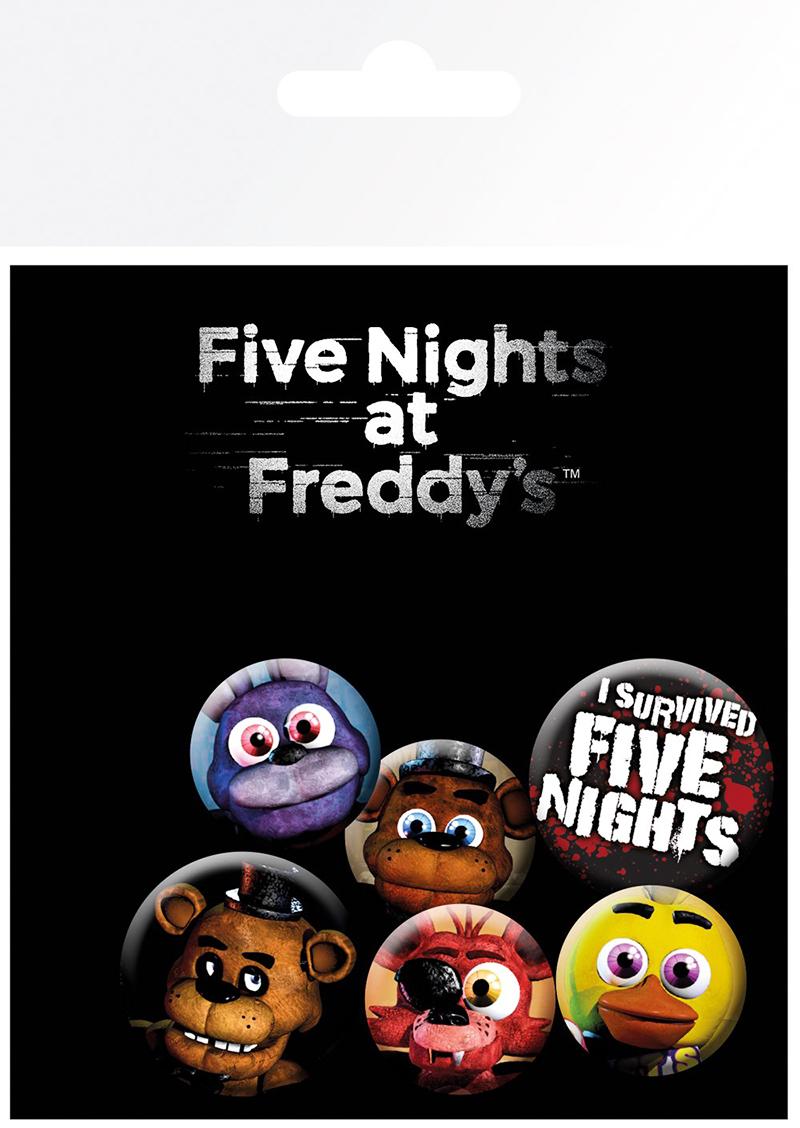 FIVE NIGHTS AT FREDDY'S -  SET OF 6 PINS