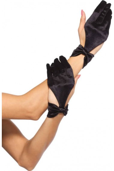 GLOVES -  SATIN CUT OUT GLOVES WITH BOW WRIST DETAIL - BLACK (WOMEN - ONE-SIZE)