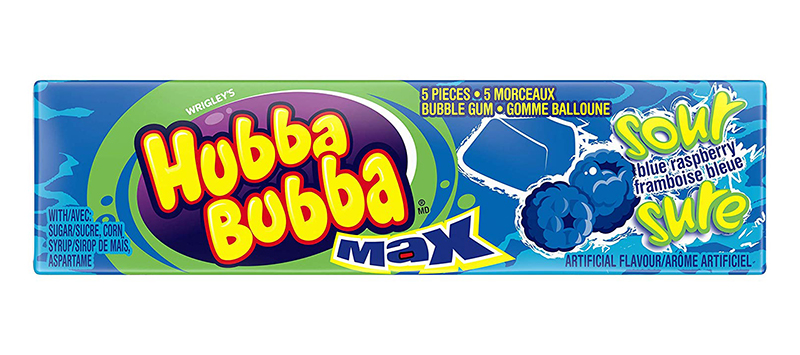 HUBBA BUBBA -  BUBBLE GUM - SOUR BLUE RASPBERRY