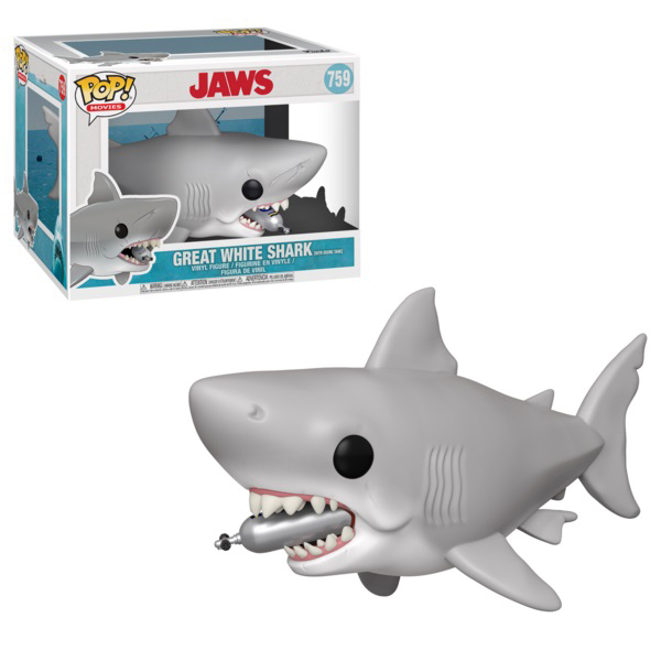JAWS -  POP! VINYL FIGURE OF GREAT WHITE SHARK (WITH DIVING TANK) (6 INCH) 759