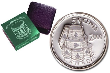 Canada 2000 5 Cent Les Voltigeurs de Quebec Sterling Silver Coin