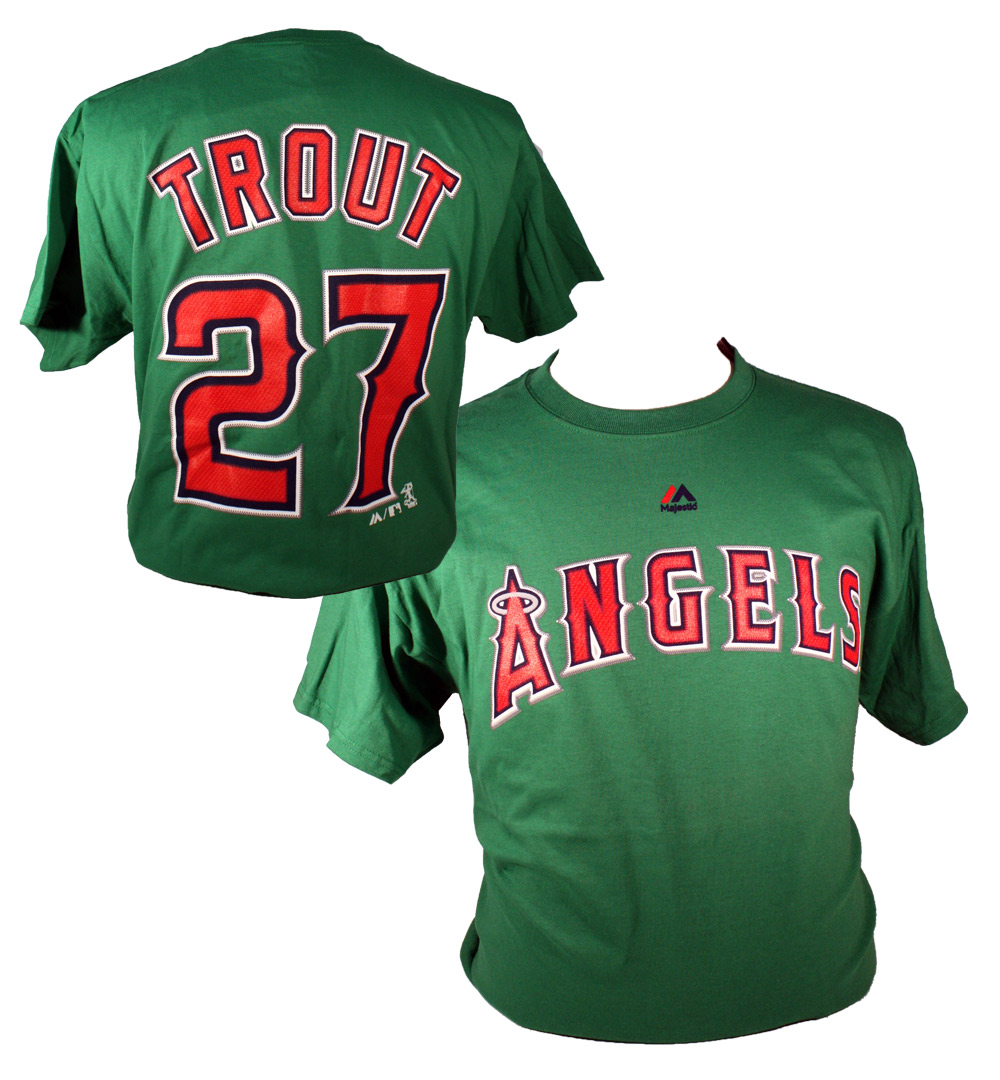 LOS ANGELES ANGELS -  MIKE TROUT #27 T-SHIRT - GREEN