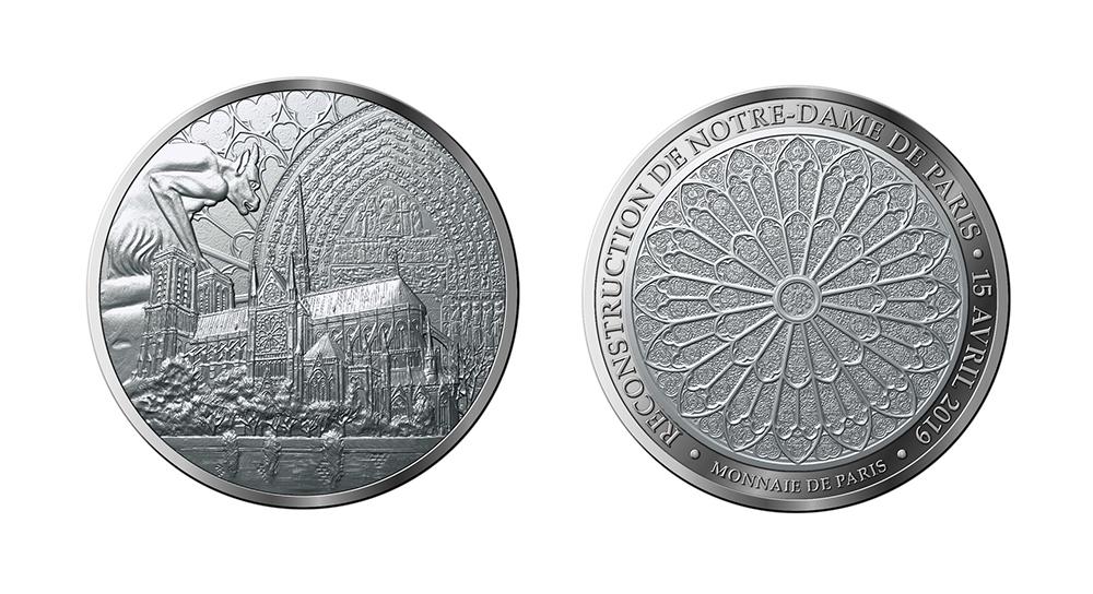 MEDAILLONS -  NOTRE-DAME DE PARIS RECONSTRUCTION -  2019 FRANCE COINS