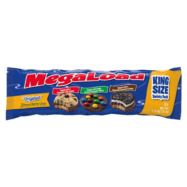 MEGALOAD -  3 PEANUT BUTTER CUPS WITH TOPPINGS (2.5 OZ)