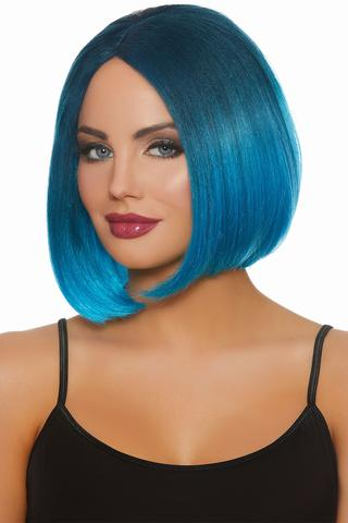 MID-LENGTH OMBRÉ BOB WIG - STEEL BLUE BRIGHT BLUE   WIGS   BLUE 129a3abe8d75