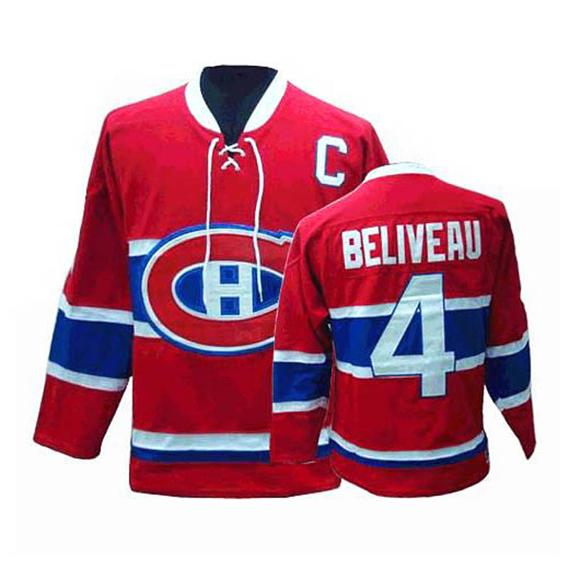 MONTREAL CANADIENS -  JEAN BELIVEAU #4 - REPLICA RED JERSEY