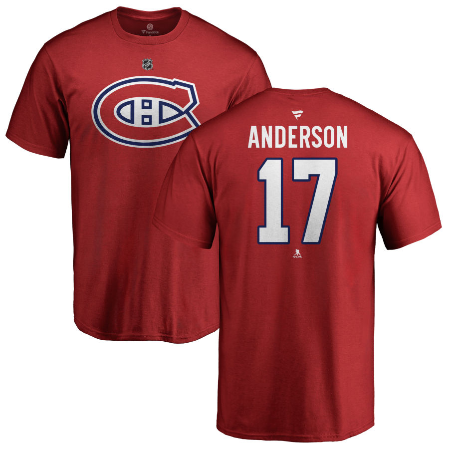 MONTREAL CANADIENS -  JOSH ANDERSON #17 T-SHIRT - ROUGE