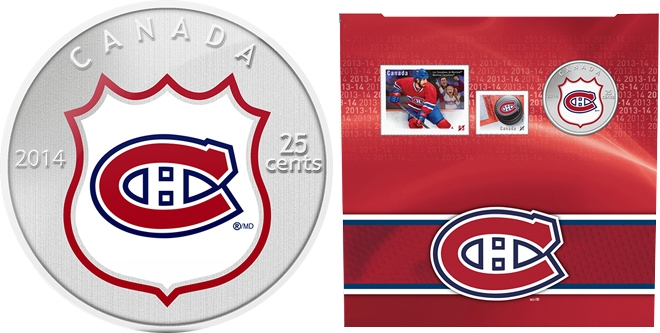 MONTREAL CANADIENS -  MONTREAL CANADIENS LOGO - STAMPS AND COIN SET -  2014 CANADIAN COINS