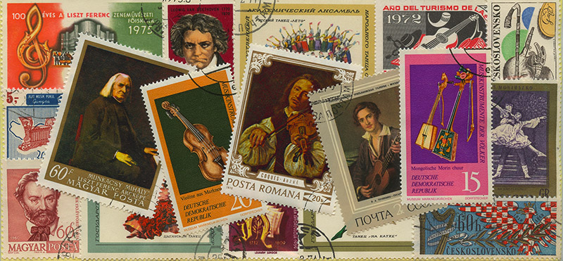 MUSIC -  30 ASSORTED STAMPS - MUSIC