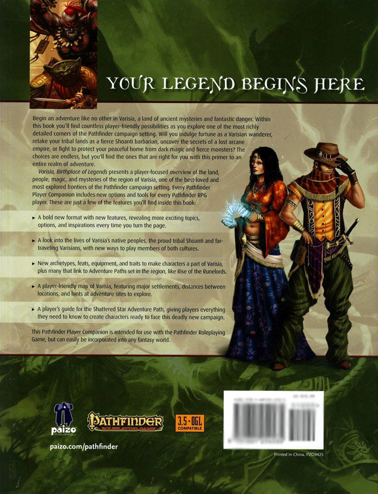 PATHFINDER - VARISIA - BIRTHPLACE OF LEGENDS / BOOKS / D20