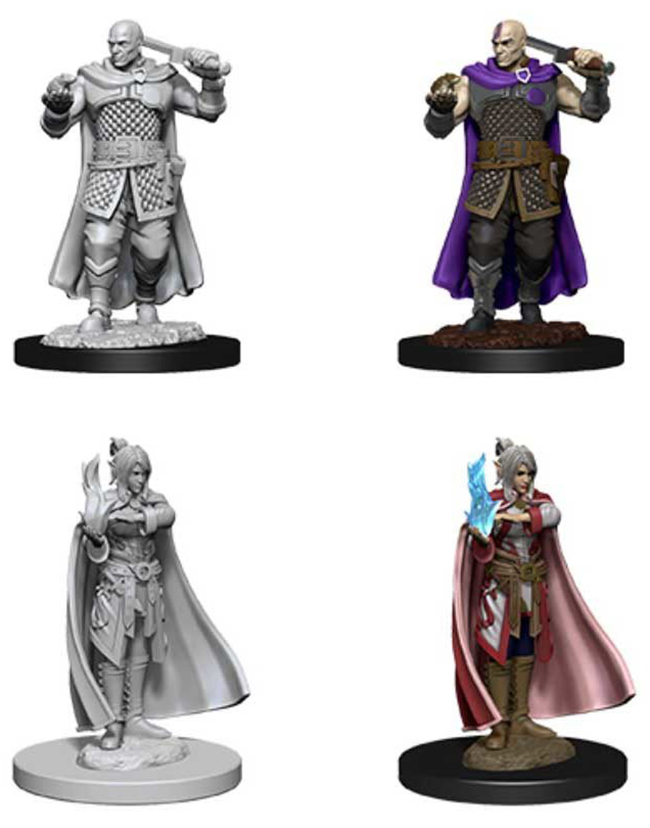 ROLEPLAYING MINIATURES -  MALE HUMAN RANGER & FEMALE MOON ELF SORCERER FIGURES (2) -  NOLZUR'S MARVELOUS MINIATURES