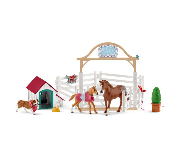 SCHLEICH FIGURE -  HANNAH'S GUEST HORSES WITH RUBY THE DOG -  HORSE CLUB