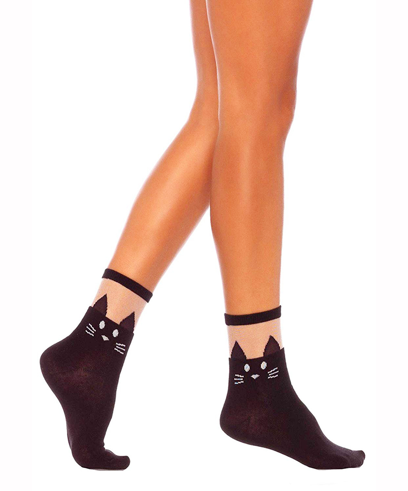 SOCKS -  BLACK CAT OPAQUE ANKLET WITH SHEER TOP - ONE SIZE
